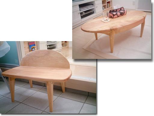 ローテーブル・あかねとベンチ